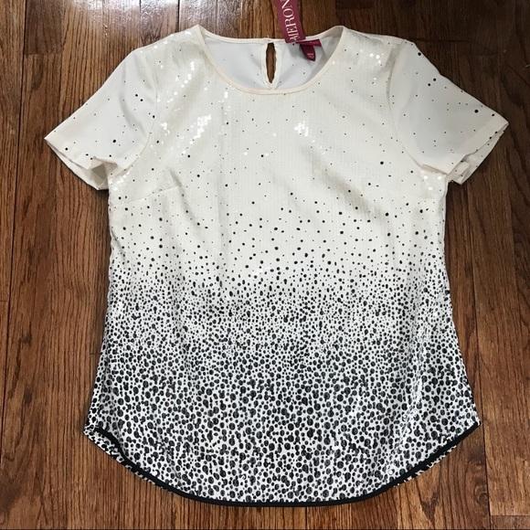 Merona Tops - NWT Merona Black & White Sequin Top.